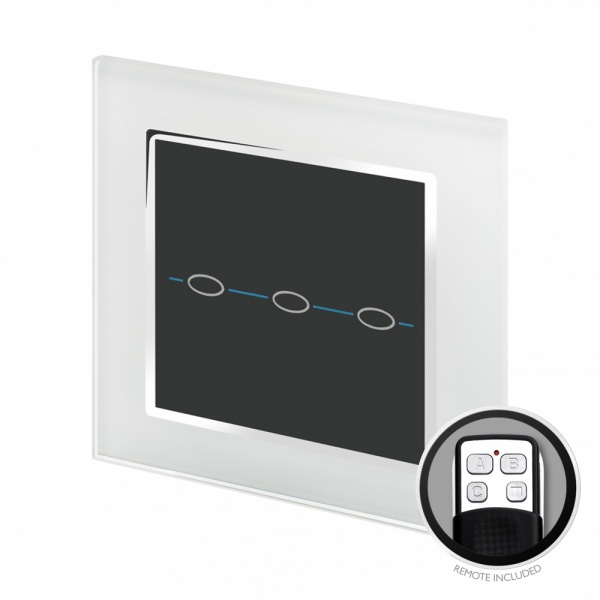 Crystal CT Touch & Remote Light Switch 3 Gang White