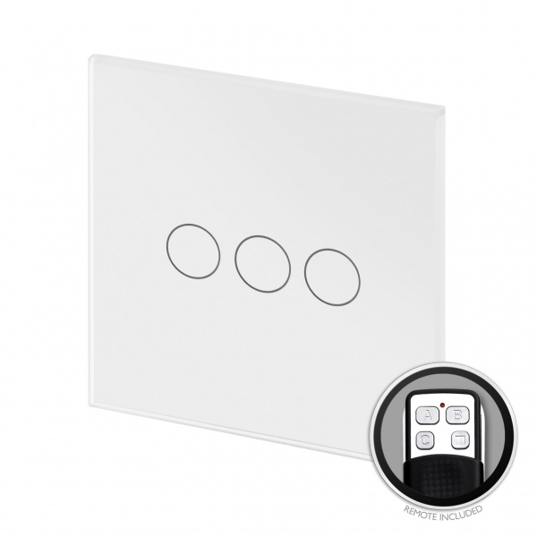 Crystal PG Touch & Remote Light Switch 3 Gang White
