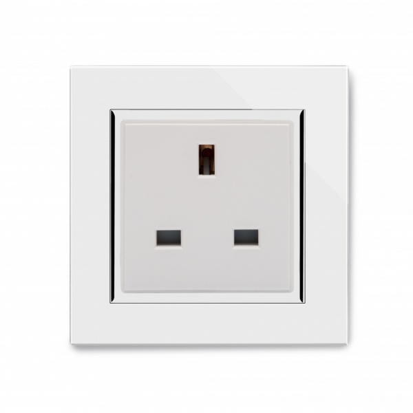 crystal ct single 13a uk unswitched socket white. Black Bedroom Furniture Sets. Home Design Ideas