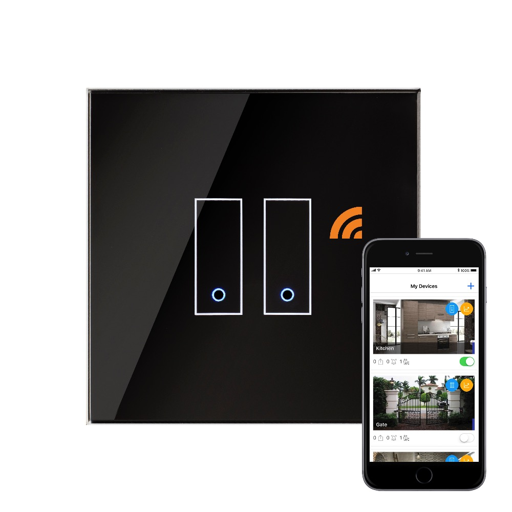 crystal iotty wifi smart switch 2g black uk retrotouch. Black Bedroom Furniture Sets. Home Design Ideas