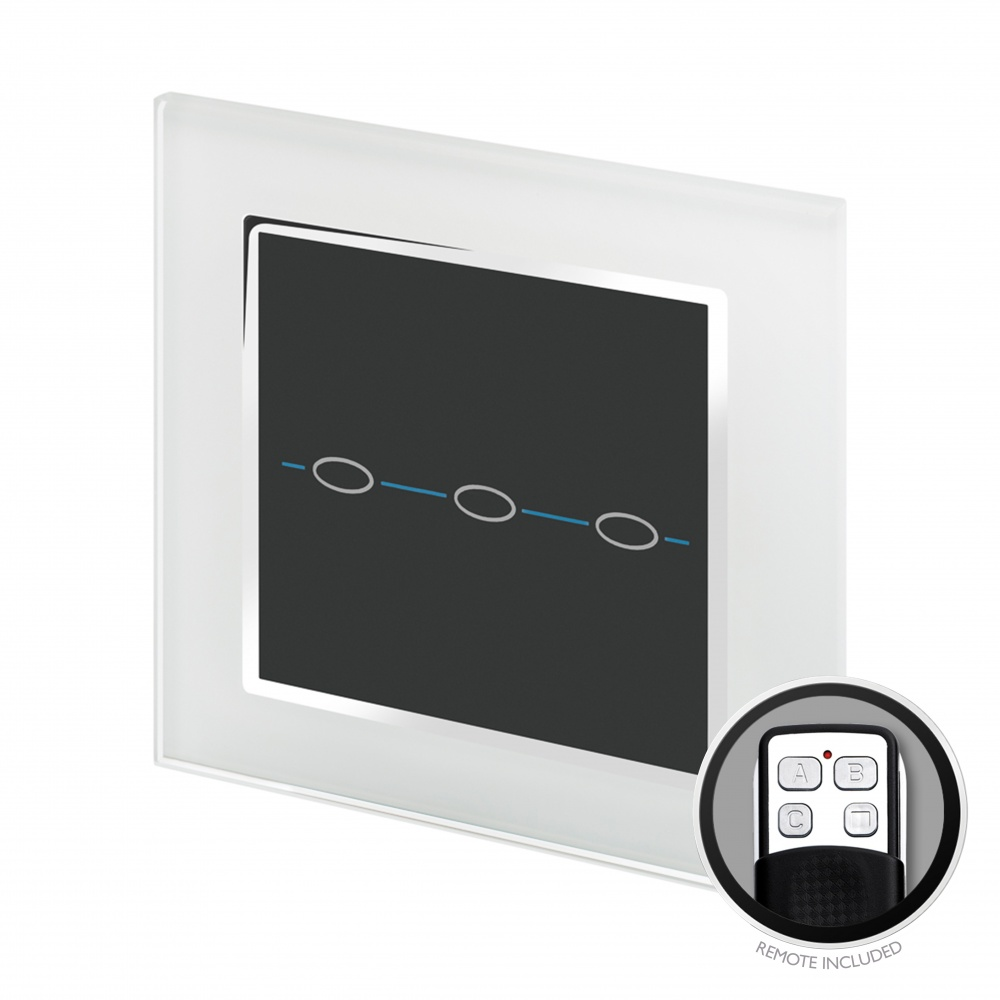Crystal CT Touch & Remote Light Switch 3 Gang White - RetroTouch ...