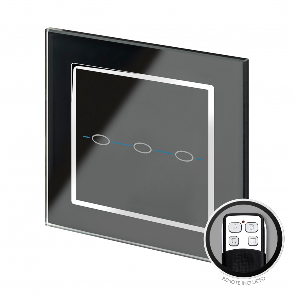 Crystal CT Touch & Remote Light Switch 3 Gang Black - RetroTouch ...