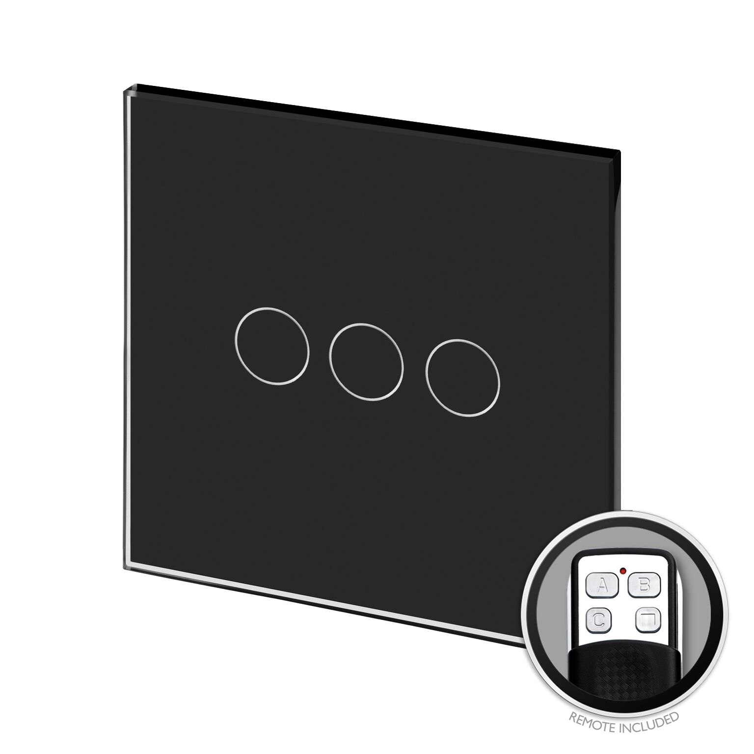Crystal PG Touch & Remote Light Switch 3 Gang Black - RetroTouch ...