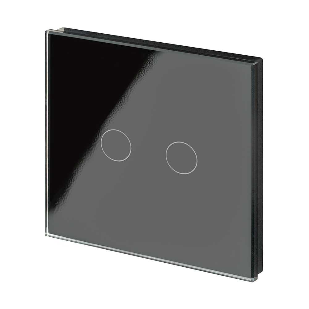 Crystal Pg Wirefree Touch Light Switch 2 Gang Black Retrotouch Wire Uk