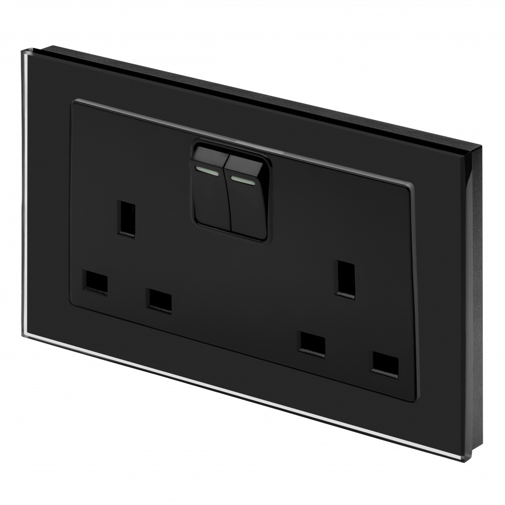 Crystal PG 13A DP Double Plug Socket with Switch Black - RetroTouch Designer Light Switches ...