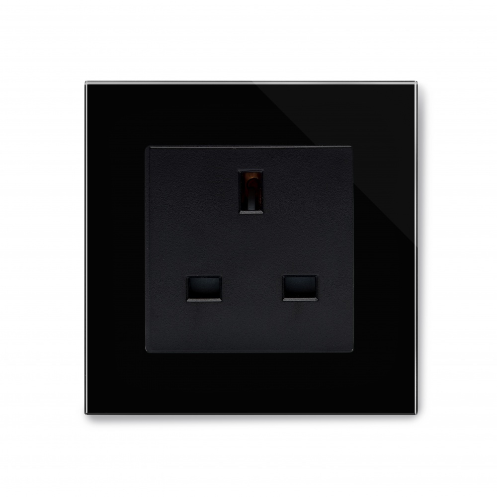 Crystal Pg Single 13a Uk Unswitched Socket Black