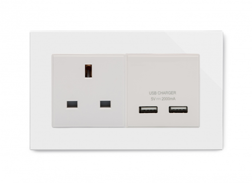A Dual Usb Double Socket Glass