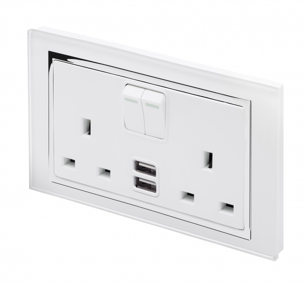Crystal CT 2.1A USB & 13A DP Double Plug Socket with Switch White ...