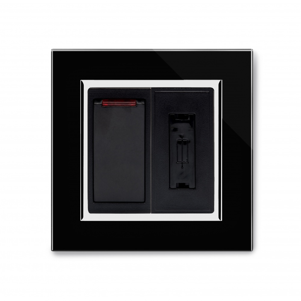 Crystal Ct 13a Dp Switched Fused Spur Black Retrotouch Designer Wiring A Light Switch And Socket