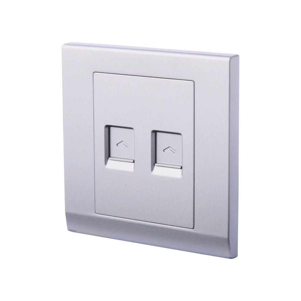 Simplicity Double CAT5e Socket Mid Grey - RetroTouch Designer Light ...