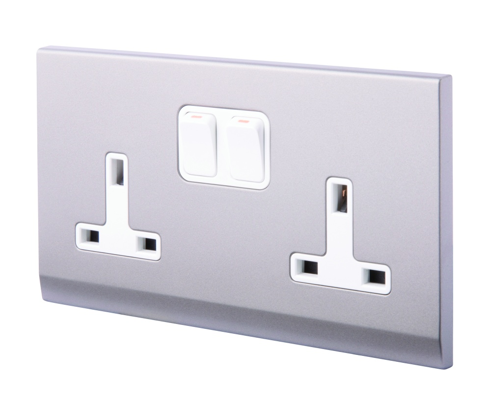 Simplicity 13a Dp Double Plug Socket With Switch Mid Grey Wiring Cooker