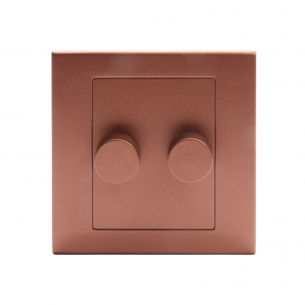 Simplicity Led Dimmer Switch 2 Gang Way Copper Bronze With
