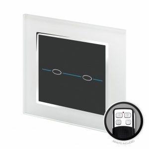 Crystal CT Touch & Remote Light Switch 2 Gang  White