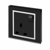 Crystal 13A Single Plug Socket with Switch Black CT