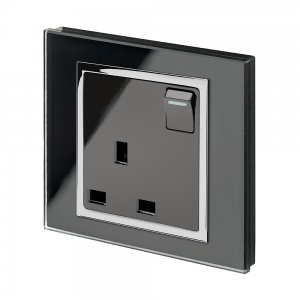 Crystal CT 13A Single Plug Socket with Switch Black