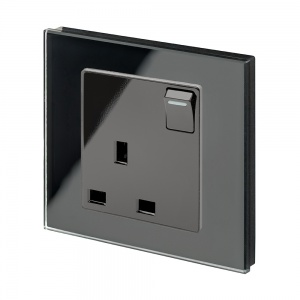 Crystal PG 13A Single Plug Socket with Switch Black