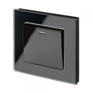 Crystal PG 1 Gang Rocker Light Switch Black