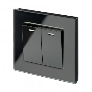 Crystal PG (Retractive/Pulse) Light Switch 2 Gang Black