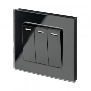 Crystal PG (Retractive/Pulse) Light Switch 3 gang Black