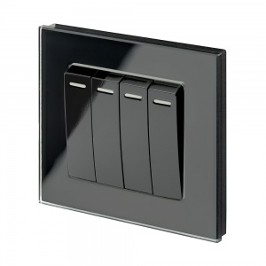 Crystal PG (Retractive/Pulse) Light Switch 4 Gang Black