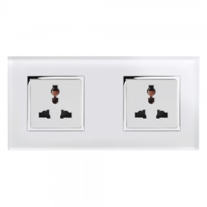 Crystal CT 13A Dual Double Multifunction Plug Socket White