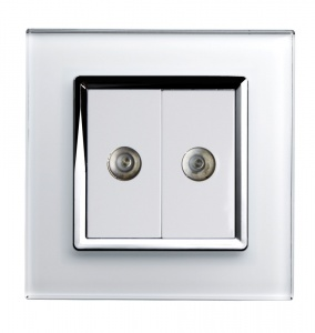 Crystal CT Dual TV Socket White