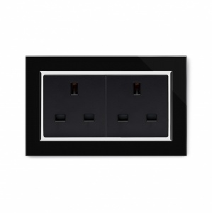 Crystal CT 13A Double Plug Unswitched Socket Black
