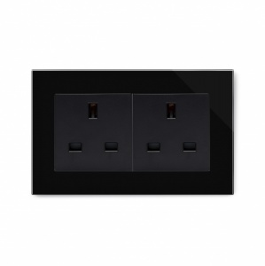 Crystal PG 13A Double Plug Unswitched Socket Black