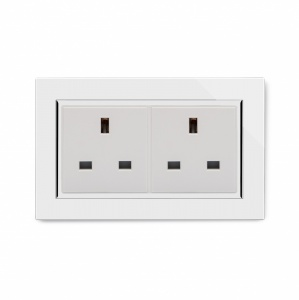 Crystal CT 13A Double Plug Unswitched Socket White