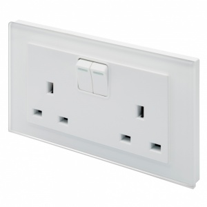 Crystal PG 13A DP Double Plug Socket with Switch White