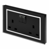 Crystal 13A DP Double Plug Socket with Switch Black CT