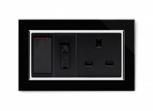 Crystal CT Switched Fused Spur with 13A Unswitched Socket Black