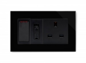 Crystal PG Switched Fused Spur with 13A Unswitched Socket Black