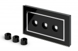 Crystal CT 3 Gang LED Dimmer Plate Black