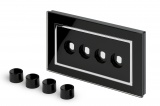 Crystal CT 4 Gang LED Dimmer Plate Black