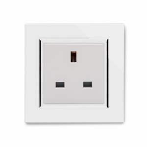 Crystal CT Single 13A UK Unswitched Socket White