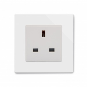 Crystal PG Single 13A UK Unswitched Socket White