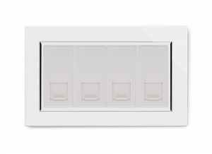 Crystal CT Quad CAT6e Socket White