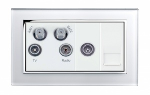 Crystal CT TV - Radio - Twin Sat / TV / BT Master Socket White