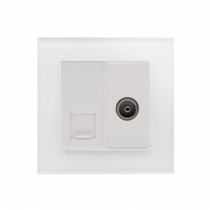 Crystal PG CAT6e / TV Socket White