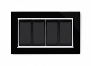 Crystal CT 4 Gang 20A Switch DP Black