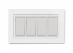 Crystal CT 4 Gang  (3x Int/1x 2Way) Double Plate White