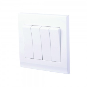 Simplicity Mechanical Light Switch 4 Gang White