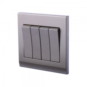 Simplicity Mechanical Light Switch 4 Gang Charcoal