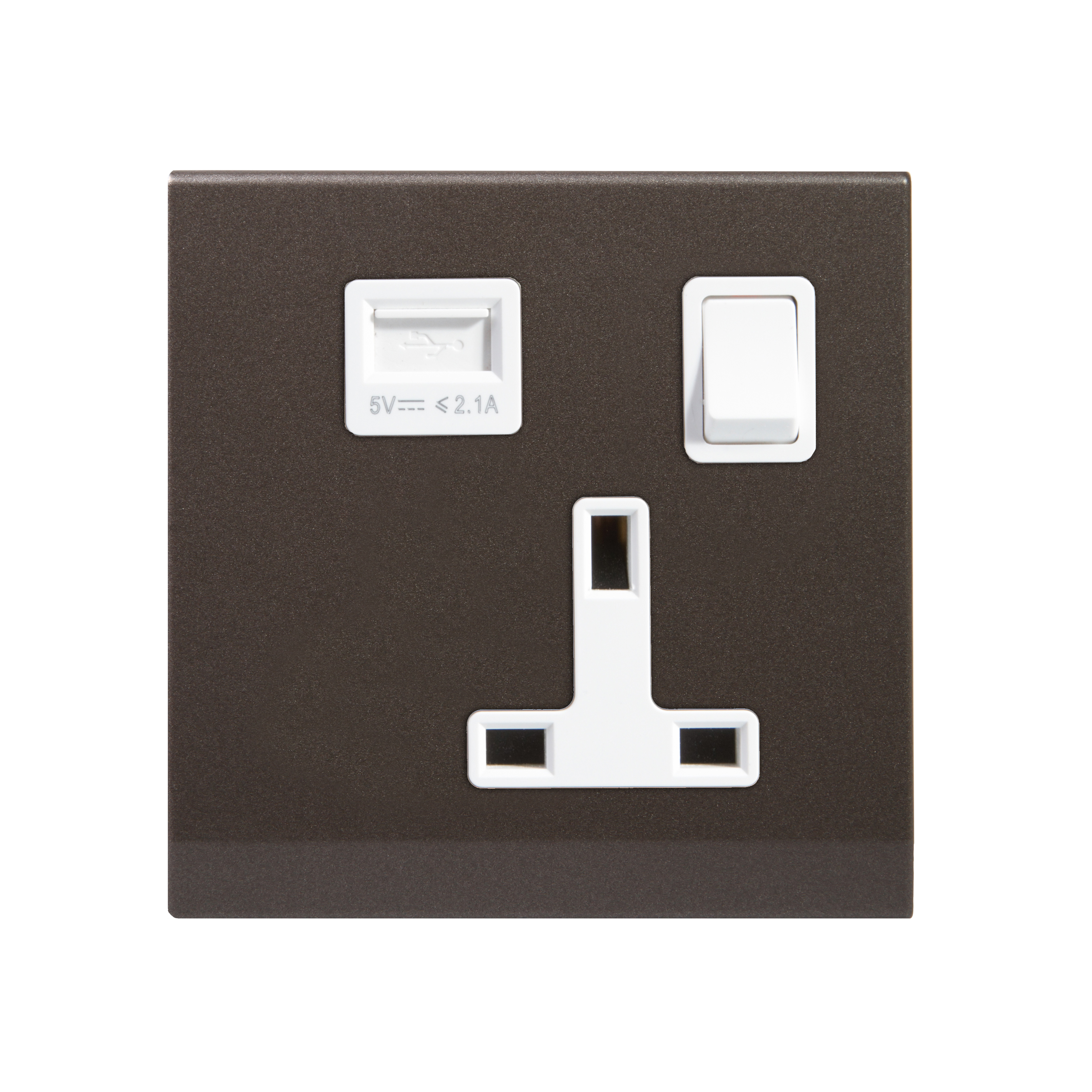 Simplicity 13A Single Plug Socket & USB with Switch Charcoal