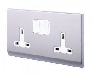 Simplicity 13A DP Double Plug Socket with Switch Mid Grey