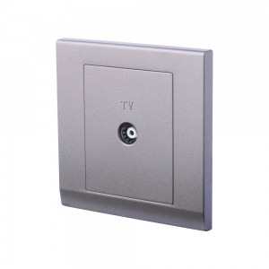 Simplicity Single Coaxial TV Socket Charcoal