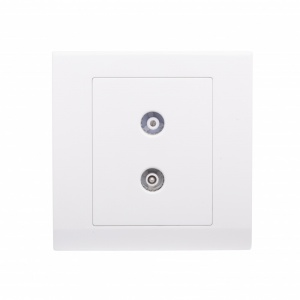Simplicity Coaxial TV + FM Socket White