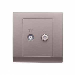 Simplicity Coaxial TV + Satellite Socket Charcoal