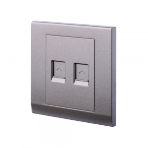 Simplicity Double CAT5e  Socket Charcoal